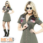 Top Gun Aviator Dress Ladies Military Fancy Dress 1980s Womens Costume Outfit