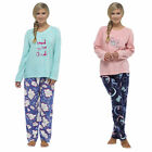 Womens Ladies Fleece Warm Lounge wear Pyjama Set Bottoms Pjs Pants Top