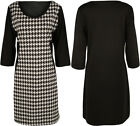 New Womens Plus Size Houndstooth Bodycon 3/4 Sleeve Dogtooth Ladies Dress 14-28
