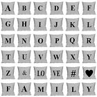 "Alphabet Monogram Printed Cushion Cover 18"" x 18"" Decorative Pillowcase Cover"