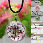 Fashion Women Crystal Glass Ball Flower Pendant Necklace Jewelry Gift