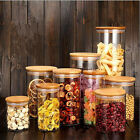 Glass Storage Jars Preserving Jar in Various Size Bamboo Cover Straight Canister