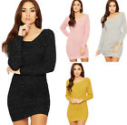 Womens Lurex Cable Knitted Jumper Dress Ladies Off Shoulder Long Sleeve Top