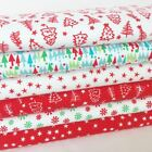 White red & green festive Christmas fabrics & fat quarter bundle 100% cotton