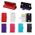 6 colours Leather Folio Wallet Case Cover Pouch For HTC Mobile Phones 01