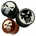 Punisher Skull Totenkopf Plug Horn Holz Knochen marvil devil flesh tunnel biker