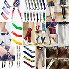 Women Girl Stripe Stripy Striped Over The Knee Thigh High Stockings Long Socks A
