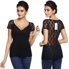 Sexy Women V-Neck Short Sleeve Lace Patchwork See-through Slim Blouse Tops S0BZ