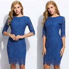 New Fashion Women Backless Round Neck 3/4 Sleeve Hollow Floral Lace Pencil Dress