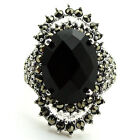 Genuine Marcasite 925 Sterling Silver Black Faceted Agate Ring size us 7/8/9/10