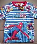 NWT Youth Marvel Comics Spiderman Blue & White Striped Silky Shirt Sizes XS to L
