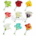 Calla Lily Flowers Brooch Pin Wedding Bridal Groomsman Boutonniere Corsage Decor