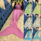 WOMEN Kids Mermaid Tail Crocheted Cocoon Lapghan Sofa Blanket Rug Quilt Sofa