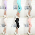 Women Lace Leggings Modal High Waist Stretch Skinny Short Capri Pants Trousers B