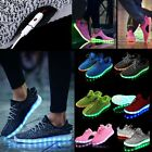 Unisex Kid Adult LED USB Light UP Shoes Luminous Sneakers Athletic Knit Shoes