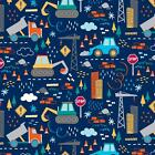 CONSTRUCTION TRUCKS BLUE WORK ZONE NOVELTY QUILT SEWING FABRIC *Free Oz Post