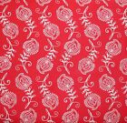 CONTEMPO FEATHERS LEAVES  RED WHITE QUILT SEWING FABRIC *Free Oz Post