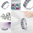 Women Elegant Jewelry Silver Plated Multicolor Zircon Wedding Ring Size 6 7 8