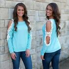 New Fashion Women T-Shirt Cold Shoulder Lace Patchwork Long Sleeve Top Blouse