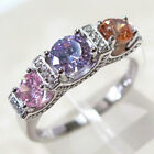 UNUSUAL MULTI COLOR THREE STONES 925 STERLING SILVER RING SIZE 5-10 image