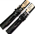 18mm DARLENA 1560 GENUINE CROCODILE LEATHER WATCH STRAP BLACK. GOLD or SILVER