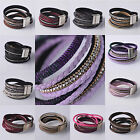 NEW Unisex 1pcs 15'' Crystal Rhinestone Leather Magnetic Clasp Bracelet DIY