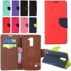 Dual Color Flip Hybrid Card PU Wallet Leather Skin Case Cover Stand For LG Phone