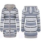 Women Casual Thick Warm Cotton Lining Long Sleeve Hooded Cardigan Sweater N4U8