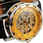 Classic Mens Watch Black Leather Dial Skeleton Mechanical Sport Army Wrist Watch