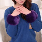 HX 1Pair Warm Faux Fur Plush Cuff Oversleeve Wristband Elastic Wrist Gloves