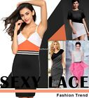 New Stylish Women Sexy Sleeveless Strap V Neck Contrast Color Dress N4U8