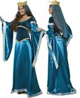 Ladies Blue Maid Marion Medieval Queen Book Fancy Dress Costume Outfit UK 12-14