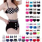 Women Retro Bikini Swimsuit Padded Top High Waist Bottom Vintage Pinup Swimwear
