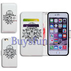 Bcov Panda Skull Flower Wallet Leather Cover Case For iPhone 4 5 6 7
