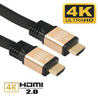 Gold Plated 1/1.8/3/5/10M Ultra High Speed 4K HDMI V2.0 Cable Flat HD Ethernet