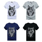 Fashion 3D Mens Short Sleeve Summer Printed Wolf Head Loose Casual T-shirt Tops