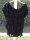 ONCE AGAIN WOMEN CASUAL SOLID BLACK POLYESTER SHORT SLEEVE BLOUSE PLUS 2X NEW