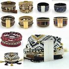 Bohemia Multilayer Leather Bracelet Boho Wrist Cuff Charm Bangle Women Jewelry