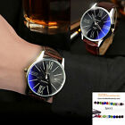 Mens New Fashion elegant Sport Casual Leather Stainless Steel Quartz Watch +GIFT