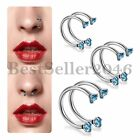 2PCS Blue CZ Surgical Steel Screw Nose Hoop Ring Studs Body Piercing Jewelry image