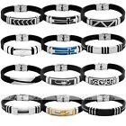 Men's Punk Black Rubber Stainless Steel Buckle Bracelet Cuff Bangle Wristband