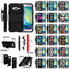 For Samsung Galaxy J3   Amp Prime Hybrid Dual Layer Case with Built-in Kickstand