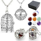 Openable Birdcage Tree of Life Locket 7 Chakra Gemstones Pendant Chain Necklace
