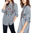 Women Fashion Casual Embroidery Floral Blouse Tops Long Sleeve Striped Shirt