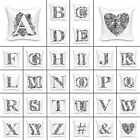 "High Quality Graphic Alphabet Cushion Cover Decor Pillow 18"" x 18"" Micro Sateen"