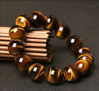 Natural Tiger Eye Stone 8-18mm Round Beads Men Jewelry Bracelet Elastic Bangle