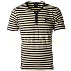 Mens Henleys Striped Button Details Y Neck T-Shirt Short Sleeved Cotton Top