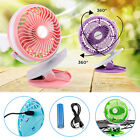 Portable Fan Rechargeable Battery Mini Oscillating Clip On black Desk/ Stroller