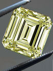 4.26 ct SI1/WHITE CANERY YELLOW COLOR LOOSE EMERALD SQUARE REAL MOISSANITE