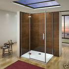 Aica Hinge Shower Door Enclosure and Tray Walk in 8mm NANO Glass Screen Cubicle